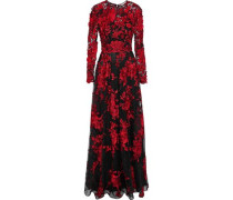 Floral-appliquéd Embroidered Tulle Gown Black