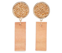 Gold-tone, straw and wood earrings