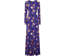 Floral-print silk-jersey gown