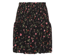 Elm Shirred Floral-print Georgette Mini Skirt Black