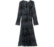 Debutante Embroidered Plissé Tulle Midi Dress Black