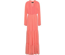 Tiered Fil Coupé Chiffon Maxi Dress Peach Size 14