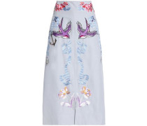 Embroidered cotton and silk-blend midi skirt