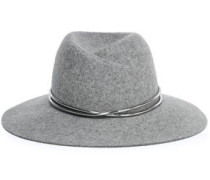 Embellished Wool-felt Fedora Gray