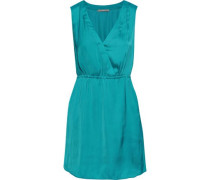 Annalisa Wrap-effect Satin-crepe Mini Dress Teal