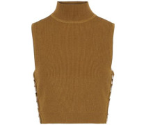 Aria Cropped Ring-embellished Ribbed-knit Turtleneck Top Camel