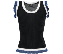 Ruffle-trimmed Ribbed Wool Top Black