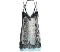 Lace-trimmed snake-print stretch-silk chemise