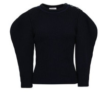 Ribbed Cotton And Wool-blend Sweater Navy