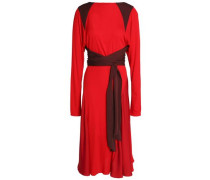 Wrap-effect crepe de chine-paneled silk-jersey dress
