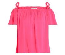 Cold-shoulder neon silk-blend top