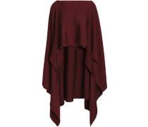 Draped wool-blend poncho