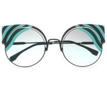 Cat-eye Printed Acetate And Metal Sunglasses Forest Green Size --