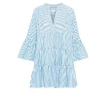 Lyssa Tiered Striped Cotton-poplin Mini Dress Light Blue