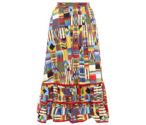 Gathered Stretch-cotton Poplin Midi Skirt Multicolor