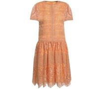 Metallic paneled macramé and lace mini dress