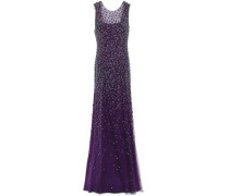 Assana Open-back Beaded Tulle Gown Purple Size 12
