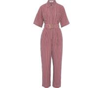 Belted Striped Poplin Jumpsuit Brick