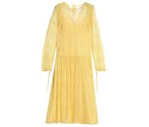 Pleated lace midi dress