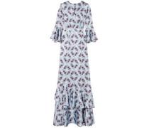 Venice Ruffle-trimmed Floral-print Silk-satin Gown Sky Blue