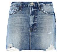 Le Mini Distressed Denim Mini Skirt Light Denim  4