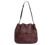 Eyelet-embellished Leather Bucket Bag Brown Size --