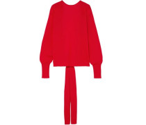 Open-back Merino Wool, Silk And Cashmere-blend Sweater Red