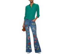 Embroidered distressed low-rise flared jeans