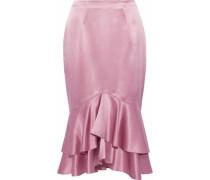 Anissa ruffled silk-satin skirt