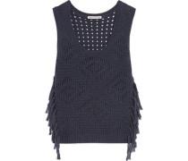 Tabard tasseled open-knit cotton sweater