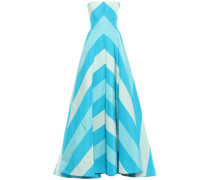 Cutout Printed Silk-faille Gown Turquoise