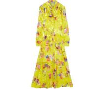Lupin Pussy-bow Floral-print Burnout Silk-blend Midi Dress Yellow