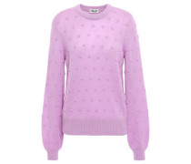 Chaine Embroidered Mélange Wool-blend Sweater Lavender