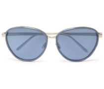 Oval-frame acetate and gold-tone sunglasses