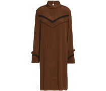Bead-embellished ruffled-trimmed silk dress