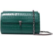 Woman Po Trunk Croc-effect Leather Shoulder Bag Emerald