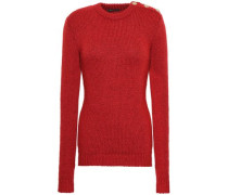 Button-embellished Ribbed-knit Sweater Brick