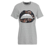 Kate Sequin-embellished Cotton-jersey T-shirt Gray