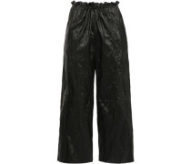 Woman Cropped Coated Canvas Wide-leg Pants Black