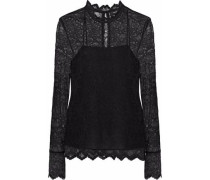 Grosgrain-trimmed corded lace blouse