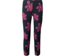 Woman Catherine Cropped Cotton-blend Floral-jacquard Slim-leg Pants Midnight Blue