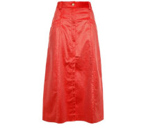 Flared Cotton-blend Corduroy Midi Skirt Tomato Red