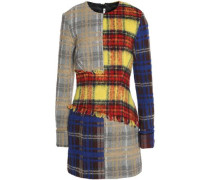 Frayed checked wool-blend mini dress