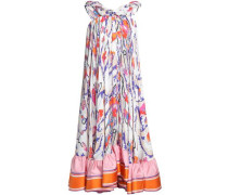 Asymmetric printed silk midi dress