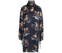 Draped printed satin turtleneck dress