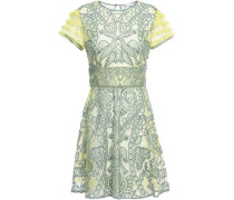 Woman Embroidered Tulle Mini Dress Chartreuse