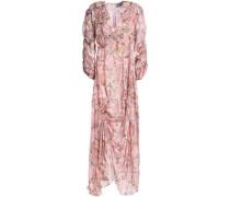 Ruched devoré floral-print chiffon maxi dress