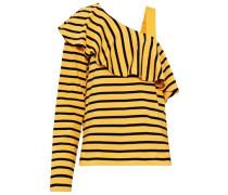Asymmetric ruffled striped cotton-jersey top