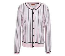 Striped Crochet-knit Cardigan Baby Pink