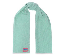 Woman Metallic Ribbed-knit Scarf Mint